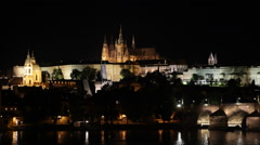 Spectacular Postcard Vitus Cathedral Prague Skyline Landmarks Night Illuminated Stock Footage