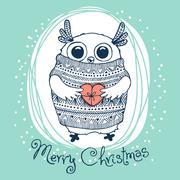 Hand drawn vector illustration with cute eagle owl. Merry Christmas card Stock Illustration