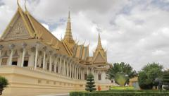 Side Of Royal Palace Throne Room With Monk Stock Footage