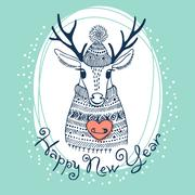 Hand drawn vector illustration with cute deer. Happy New Year card Stock Illustration