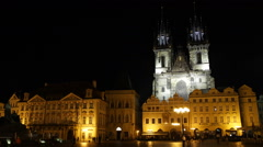 Tyn Cathedral Goltz Kinsky Palace Prague Old Town Square Illuminated Night Light Stock Footage
