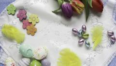 Animation of Easter items appearing on cloth Stock Footage