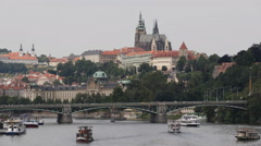St. Vitus Cathedral Prague Skyline Landmarks Cruise Ships Tour Boats Passing Day Stock Footage