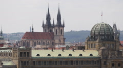 Prague Skyline Aerial View Tyn Cathedral Old Town Buildings Beautiful Cityscape Stock Footage