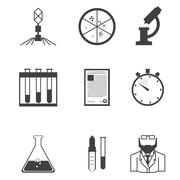 Black icons for microbiology - stock illustration