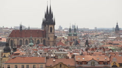 Spectacular Aerial View Prague Skyline Old Town Roof Cityscape Tyn Cathedral Day Stock Footage