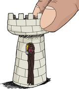 Cute rapunzel in chess piece Stock Illustration
