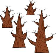 Four dead trees Stock Illustration