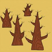 Set of four old trees Stock Illustration