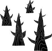 Stock Illustration of set of four trees in black