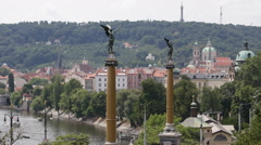 Art Nouveau Pillars Sculptures Bronze Statue Czech Bridge Prague Aerial Skyline Stock Footage