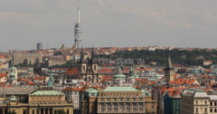 UltraHD 4K Prague Skyline Aerial View Zizkov TV Tower Tyn Cathedral Old Town Day Stock Footage