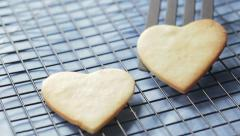 Cooling Heart Cookies Stock Footage