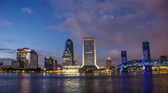 Jacksonville Florida City Skyline Downtown Nighttime with Building Lights Stock Footage