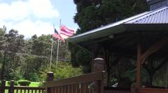 Hawaiian and American flags flying Stock Footage