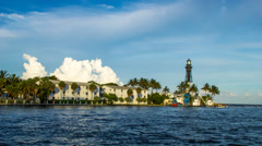 Hillsboro Inlet Lighthouse at Pompano Beach Timelapse Stock Footage