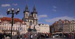 Ultra HD 4K UHD Old Town Square Prague People Crowd Tourists Walk Visit Landmark Stock Footage