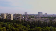 Panorama of large city, rooftops in residential area, aerial, click for HD Stock Footage