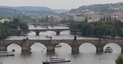 Ultra HD 4K Beautiful Prague Skyline Aerial View Charles Bridge Vltava River Stock Footage