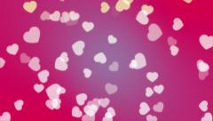4K Seamless Looping White Heart Particles on Pink Abstract Background Motion Stock Footage