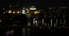 UltraHD 4K Prague Skyline Aerial View Night Lights Illuminated Evening Traffic Stock Footage