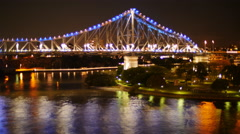 Story bridge at night in Brisbane time lapse 4K Stock Footage