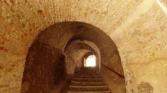 Mukachevo castle Palanok archway staircase Stock Footage