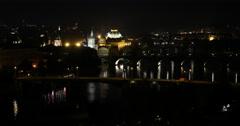 UHD 4K Establishing Shot Prague Skyline Aerial View Night Light Illuminated Cars Stock Footage