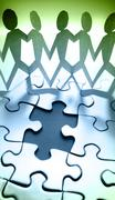 Team holding hands on jigsaw puzzle Piirros