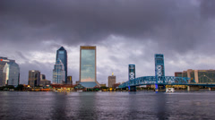 Jacksonville Florida City Skyline Downtown Dark Clouds Main Street Bridge Stock Footage