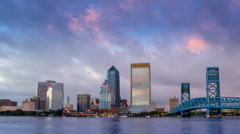 Jacksonville Florida City Skyline Downtown Wells Fargo Building Stock Footage