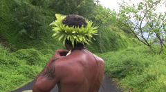 French Polynesia Tahiti Tahitian Man with Fangs Stock Footage