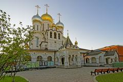 Nativity of the blessed virgin cathedral in the conception convent in moscow Stock Photos
