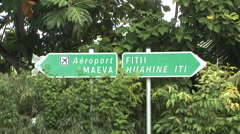 French Polynesia Tahiti Aeroport Airport Sign Stock Footage