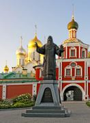 Entrance to the conception convent in moscow and the monument Stock Photos