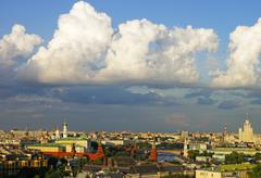 Cumulus clouds over moscow city center and kremlin panorama skyline Stock Photos