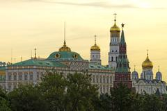 Grand kremlin palace bell tower, tower and archangel cathedral at the dawn Stock Photos