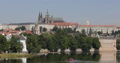 UHD 4K Establishing Shot Prague Castle Old Town Skyline Tourists Boats Day Stock Footage
