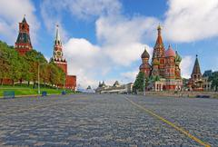 Moscow kremlin, red square and saint basil cathedral Stock Photos