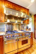 Shiny modern stove with hood in luxury kitchen room Stock Photos