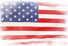 grunge american flag on plain background - stock photo