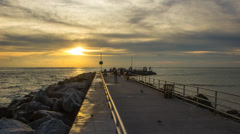 Jupiter Inlet Jetty in Palm Beach County Florida at Fishing Spot Stock Footage