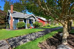 house exterior with curb appeal - stock photo