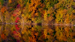 Amazing Fall Colors Scenic Reflected in River Stock Footage