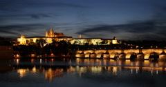 UltraHD 4K Postcard Skyline Prague Landmark Establishing Shot Night Lights Dusk Stock Footage
