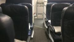 Interior Empty Airplane Cabin POV Stock Footage