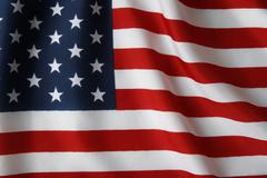 Closeup of ruffled american flag Stock Photos