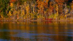 Amazing Fall Colors Scenic Reflected in River, Panning Upward Stock Footage