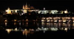 Ultra HD 4K Establishing Shot Prague Skyline Charles Bridge Evening Night Lights Stock Footage