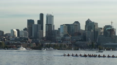 Rowers Rowing Seattle Skyline Stock Footage
